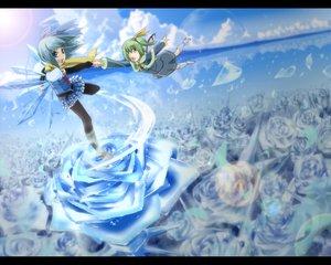 Rating: Safe Score: 25 Tags: 2girls blue cirno daiyousei fairy flowers nyanmaru rose touhou User: Daser