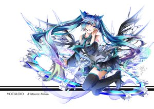 Rating: Safe Score: 51 Tags: animal_ears blue_eyes blue_hair boots catgirl hatsune_miku long_hair microphone thighhighs tie twintails tyouya vocaloid User: Flandre93