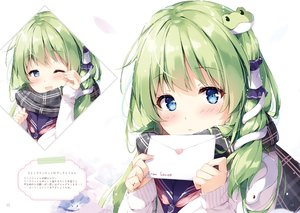 Rating: Safe Score: 53 Tags: animal blue_eyes blush close green_hair kochiya_sanae long_hair miyase_mahiro paper scan scarf school_uniform snake touhou valentine wink User: otaku_emmy