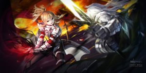 Rating: Safe Score: 111 Tags: armor blonde_hair fate/apocrypha fate/grand_order fate_(series) green_eyes long_hair male mordred ponytail siegfried swd3e2 sword weapon white_hair User: Flandre93