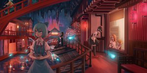Rating: Safe Score: 53 Tags: aqua_eyes aqua_hair black_hair building camera cirno dress fairy group horns hoshiguma_yuugi japanese_clothes komeiji_koishi magic mizuhashi_parsee orange_hair roke_(taikodon) shameimaru_aya short_hair skirt tagme_(character) thighhighs touhou water wings User: RyuZU