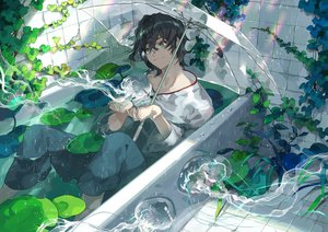 Rating: Safe Score: 20 Tags: aliasing all_male bath bathtub black_hair green_eyes kyouichi male original rainbow short_hair umbrella water wet User: RyuZU