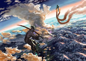 Rating: Safe Score: 64 Tags: armor clouds gray_hair matsuyuya sky sword weapon User: SonicBlue