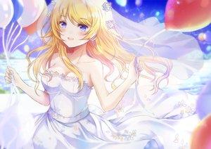 Rating: Safe Score: 52 Tags: blonde_hair blue_eyes blush hachimiya_meguru headdress idolmaster idolmaster_shiny_colors long_hair nametake_(nametake) wedding_attire User: BattlequeenYume