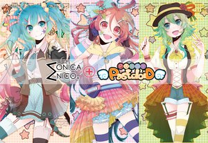 Rating: Safe Score: 50 Tags: aqua_eyes aqua_hair bow cherry dress food fruit green_eyes green_hair gumi hat hatsune_miku long_hair microphone miki_(vocaloid) mo2ica pink_hair red_eyes skirt stars thighhighs tie twintails vocaloid User: opai