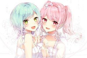 Rating: Safe Score: 34 Tags: 2girls aqua_hair bang_dream! blush bow green_eyes hikawa_hina long_hair maruyama_aya pink_eyes pink_hair short_hair taya_(pixiv5323203) twintails white User: BattlequeenYume