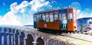 Rating: Safe Score: 28 Tags: bicolored_eyes blonde_hair brown_hair building clouds dress group halo headband laejjo landscape long_hair maid male original pink_hair purple_eyes red_eyes scenic sky train twintails wings User: BattlequeenYume