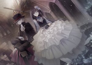 Rating: Safe Score: 17 Tags: angel31424 blue_eyes bow brown_hair building cape cross dress gloves hat long_hair male original ruins short_hair signed white_hair yellow_eyes User: BattlequeenYume