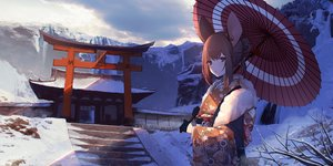 Rating: Safe Score: 60 Tags: animal_ears blue_eyes brown_hair building clouds gloves japanese_clothes kimono mousegirl original sagiri_(ulpha220) short_hair sky torii umbrella winter User: BattlequeenYume
