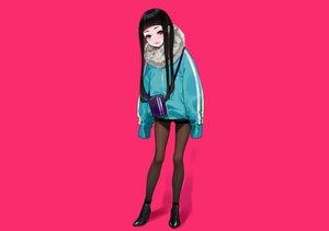 Rating: Safe Score: 50 Tags: black_eyes black_hair boots cat_smile long_hair original pantyhose pink shorts yuu_(higashi_no_penguin) User: otaku_emmy