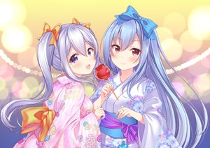 Rating: Safe Score: 95 Tags: 2girls aoba_chise aoba_project aoba_rena apple blue_hair blush bow candy food fruit japanese_clothes long_hair pink_eyes purple_eyes sakura_moyon twintails white_hair yukata User: otaku_emmy