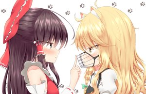 Rating: Safe Score: 30 Tags: 2girls animal_ears black_hair blonde_hair blush braids close doggirl hakurei_reimu japanese_clothes kirisame_marisa long_hair mask miko rankasei touhou yellow_eyes User: RyuZU