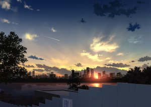 Rating: Safe Score: 214 Tags: building city clouds nobody original pei_(sumurai) realistic scenic silhouette sky sunset tree water User: FormX