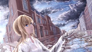 Rating: Safe Score: 54 Tags: aqua_eyes blonde_hair building clouds ikori long_hair ponytail rain reflection see_through shirt sky techgirl violet_evergarden violet_evergarden_(character) water wet User: BattlequeenYume