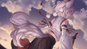 Rating: Safe Score: 67 Tags: animal_ears clouds inubashiri_momiji iwbitu japanese_clothes short_hair sky sunset tail touhou watermark white_hair wolfgirl User: Fepple