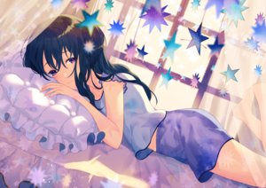 Rating: Safe Score: 39 Tags: achiki bed black_hair long_hair original pajamas purple_eyes shorts User: luckyluna