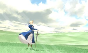 Rating: Safe Score: 55 Tags: artoria_pendragon_(all) blonde_hair clouds dress fate_(series) fate/stay_night grass ribbons saber scenic sword weapon User: rodri1711