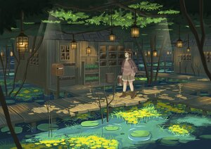 Rating: Safe Score: 38 Tags: ame246 animal_ears boots brown_eyes brown_hair building cape flowers forest hoodie leaves original scenic shade shorts tree water User: otaku_emmy