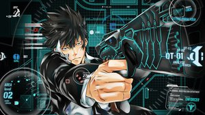 Rating: Safe Score: 89 Tags: black_hair blue_eyes gun jpeg_artifacts kougami_shinya psycho-pass tagme weapon User: BoobMaster