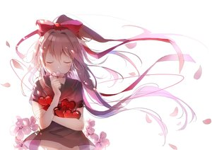 Rating: Safe Score: 80 Tags: blush bow brown_hair cherry_blossoms heart long_hair navel nekoko_(windcat429) original petals ponytail ribbons seifuku white User: otaku_emmy