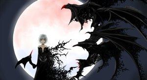 Rating: Safe Score: 95 Tags: dress moon red_eyes remilia_scarlet touhou vampire white_hair wings User: Tensa