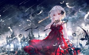 Rating: Safe Score: 167 Tags: building clouds dress feathers night onineko original red_eyes ribbons sky stars white_hair User: BattlequeenYume