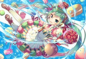 Rating: Safe Score: 57 Tags: aqua_eyes aqua_hair breasts cleavage dress food hat hatsune_miku headphones long_hair magic microphone stockings tahya twintails vocaloid wand User: luckyluna