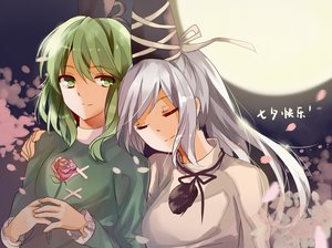 Rating: Safe Score: 64 Tags: 2girls elise_(piclic) flowers gray_hair green_eyes green_hair long_hair mononobe_no_futo moon night petals ponytail rose shoujo_ai soga_no_tojiko touhou User: mattiasc02