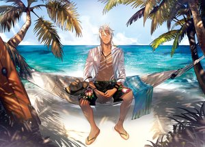 Rating: Safe Score: 34 Tags: all_male beach clouds dark_skin hat male navel necklace open_shirt orange_eyes ponytail shade shirt sky swimsuit tales_of_zestiria tattoo tree water white_hair wristwear yarr zaveid User: otaku_emmy