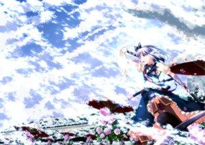 Rating: Safe Score: 27 Tags: blue_eyes boots flowers katana konpaku_youmu short_hair skirt sky snow sword touhou umbrella weapon white_hair User: Tensa
