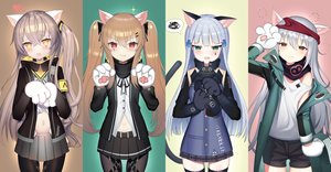 Rating: Safe Score: 56 Tags: animal_ears anthropomorphism blush brown_eyes brown_hair catgirl cat_smile fang g11_(girls_frontline) girls_frontline gloves gray_hair hk416_(girls_frontline) long_hair navel orange_eyes pantyhose ponytail scar scarf shorts skirt tail thighhighs tttanggvl twintails ump-45_(girls_frontline) ump-9_(girls_frontline) User: RyuZU