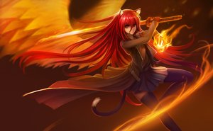 Rating: Safe Score: 302 Tags: animal_ears brown_eyes cape catgirl fire hanshu katana long_hair magic red_hair shakugan_no_shana shana skirt sword tail thighhighs weapon wings User: Flandre93