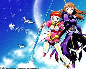 Rating: Safe Score: 7 Tags: 2girls animal bird clouds mai-otome moon shizuru_viola sky stars yumemiya_arika User: Oyashiro-sama