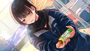 Rating: Safe Score: 51 Tags: black_hair blush brown_eyes close drink hanekoto hoodie original scarf short_hair suntory waifu2x watermark User: otaku_emmy