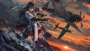 Rating: Safe Score: 50 Tags: aircraft anthropomorphism bow_(weapon) clouds kantai_collection neko_(yanshoujie) sky sunset water weapon zuikaku_(kancolle) User: BattlequeenYume