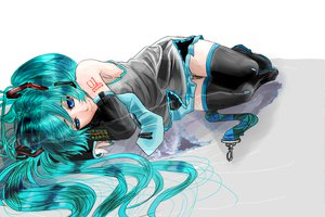 Rating: Safe Score: 59 Tags: blue_eyes blue_hair hatsune_miku long_hair skirt thighhighs tie twintails vocaloid User: FormX