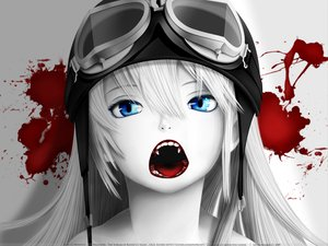 Rating: Safe Score: 257 Tags: bakemonogatari blood blue_eyes fang goggles gray_hair hat long_hair monogatari_(series) oshino_shinobu polychromatic redjuice signed watermark white User: acucar11