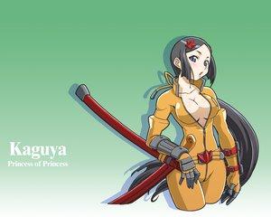 Rating: Safe Score: 17 Tags: black_hair blue_eyes breasts gloves kaguya open_shirt ponytail weapon User: Oyashiro-sama