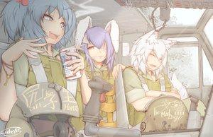 Rating: Safe Score: 58 Tags: animal_ears bunnygirl cigarette cube85 drink inubashiri_momiji kawashiro_nitori military reisen_udongein_inaba touhou wolfgirl User: FormX