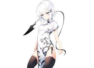 Rating: Safe Score: 90 Tags: aqua_eyes blush chinese_clothes chinese_dress original otokuyou ringo-chan_(otokuyou) short_hair thighhighs white white_hair User: otaku_emmy