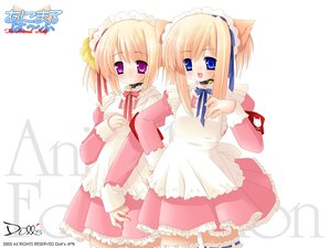 Rating: Safe Score: 24 Tags: animal_ears bell blue_eyes catgirl collar headdress maid pink_eyes ribbons thighhighs white User: Oyashiro-sama