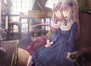 Rating: Safe Score: 64 Tags: 2girls apple228 blush dress gray_hair instrument lolita_fashion long_hair original piano purple_eyes User: BattlequeenYume