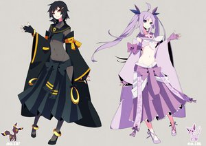 Rating: Safe Score: 168 Tags: 2girls anthropomorphism black_hair blue_eyes bodysuit espeon merlusa pokemon purple_hair red_eyes skintight umbreon User: STORM