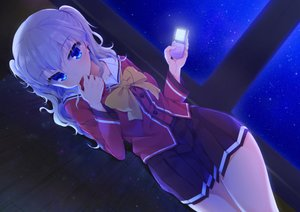 Rating: Safe Score: 174 Tags: blue_eyes bow charlotte gray_hair hym9594 long_hair phone school_uniform skirt tomori_nao User: Flandre93