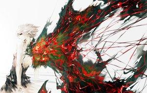 Rating: Safe Score: 202 Tags: kirishima_touka red_eyes short_hair tokyo_ghoul vibiss white_hair wings User: FormX