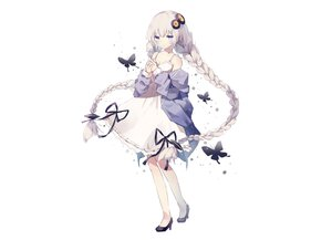 Rating: Safe Score: 94 Tags: blue_eyes bow braids butterfly dress fujii_shino gray_hair kizuna_akari long_hair ribbons summer_dress twintails voiceroid white User: otaku_emmy