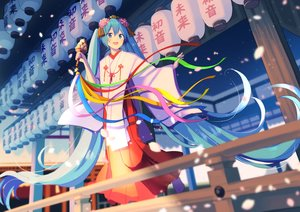 Rating: Safe Score: 41 Tags: hatsune_miku japanese_clothes miko nokuhashi shrine vocaloid User: FormX