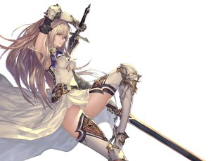 Rating: Safe Score: 134 Tags: armor boots breasts brown_eyes brown_hair dress elbow_gloves gloves long_hair original panties sword tachikawa_mushimaro thighhighs underwear weapon User: RyuZU