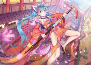 Rating: Safe Score: 123 Tags: animal_ears aqua_eyes aqua_hair hatsune_miku japanese_clothes katana long_hair petals sword torii twintails vocaloid weapon xiaosan_ye User: FormX
