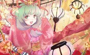 Rating: Safe Score: 16 Tags: butterfly flowers green_eyes green_hair japanese_clothes kagiyama_hina kimono long_hair petals ribbons touhou User: Tensa